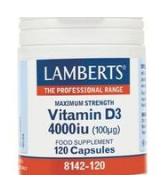 LAMBERTS VITAMIIN D3 4000IU (100MCG) KAPS N120
