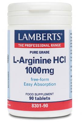 LAMBERTS L-ARGINIIN HCL 1000MG TAB N90